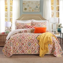 CHAUSUB American Vintage Quality Washed Cotton Quilt Set 3pcs Quilts Quilted Bedspread Bed Cover Sheets Coverlet King Size