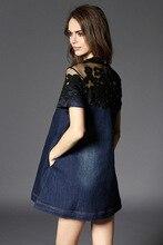 Mesh Embroidery Denim Dress Patchwork Loose A-line Summer Dress Mini Dress Jeans Women Short Sleeve Plus Size S-3XL D6628