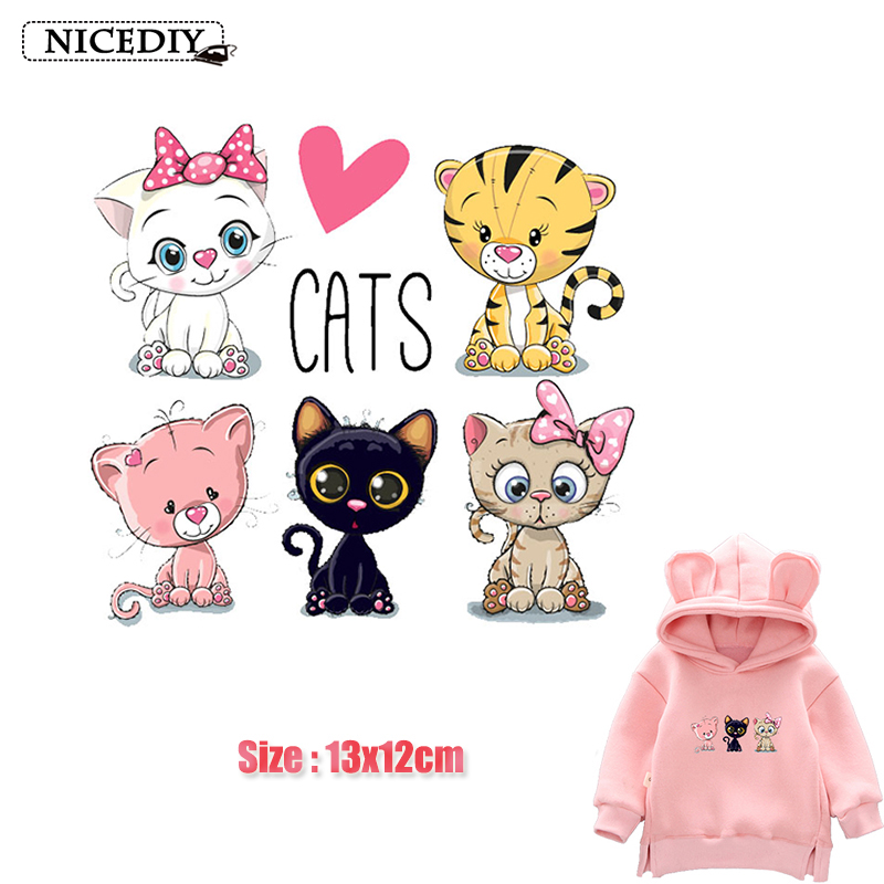 Nicediy Cute Cats Iron on Heat Transfer Printing Vinyl Patches Stickers for Clothes Appliques Washable Animals Badge DIY