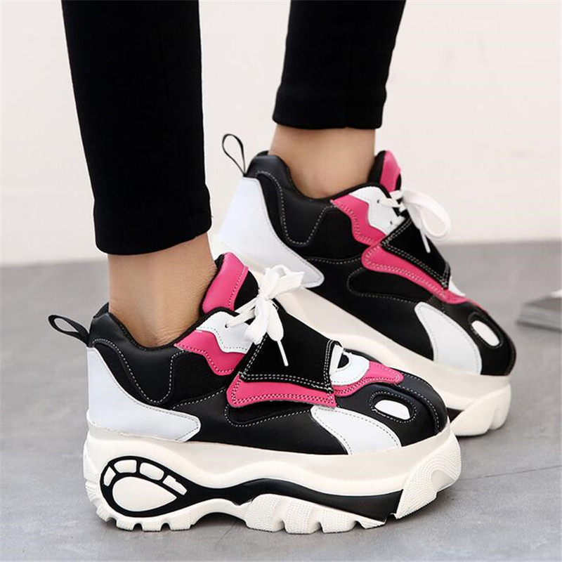 2019 Women Shoes Sneakers Flats Zapatillas Deportivas Woman Creepers Casual Shoes Increasing Heel Zapatos Mujer Flat Platform