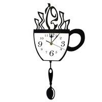 크리 에이 티브 커피 컵과 스푼 스윙 숟가락 커피 컵 진자 벽시계 커피 술꾼 선물로 현대 주방 벽시계