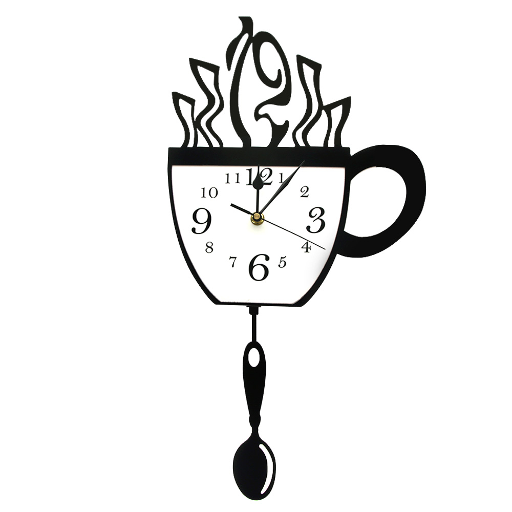 Creative Coffee Cup And Spoon Modern Kitchen Wall Clock With Swinging Spoon Coffee Cup Pendulum Wall Clock Coffee Drinker Gift Wall Clocks Aliexpress