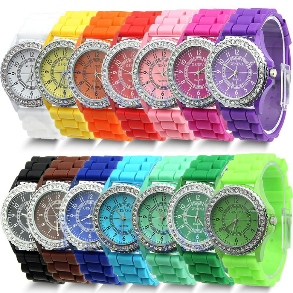 Foreign Trade Fashion Single-row Drill Watches Women Wholesale Geneva Silicone Watches Student GENEVA Watches