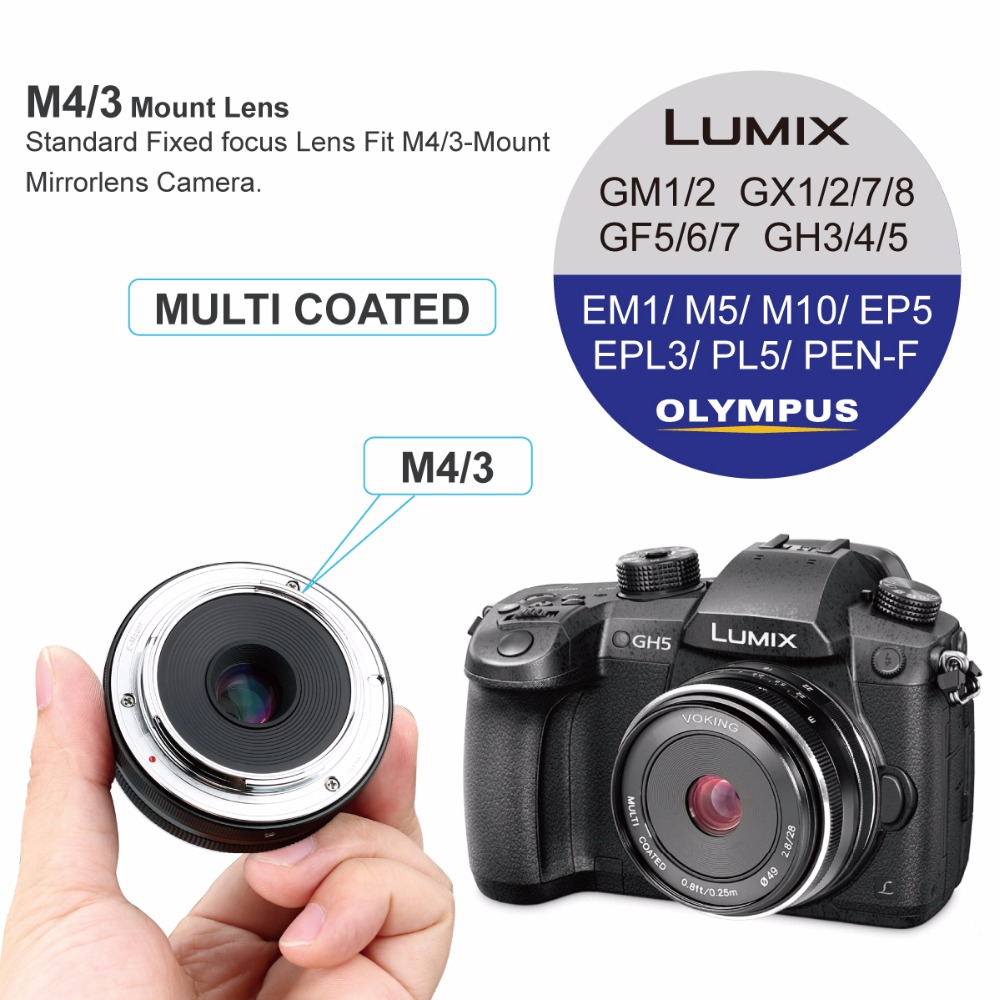 Voking Vk 28mm F 28 Fixed Manual Focus Lens For Olympus Micro 4 3 Panasonic G7 Kit 14 42 Ii Silver Leica 25mm Em10 Mark Em5 Em1 Ep5 Epl3 And Lumix Cameras In Camera From Consumer