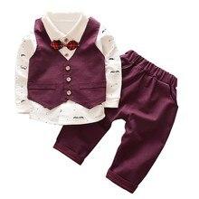 hot deal buy children clothing boy clothes set 2019 spring autumn fashion gentleman kids clothing toddler baby boys clothing set long sleeve