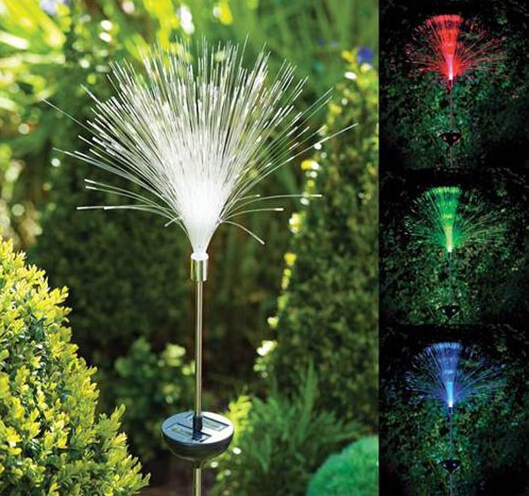 Novelty fibre optic color changing led solar power lamp stake light garden outdoor path lamp for Solar garden stakes color changing