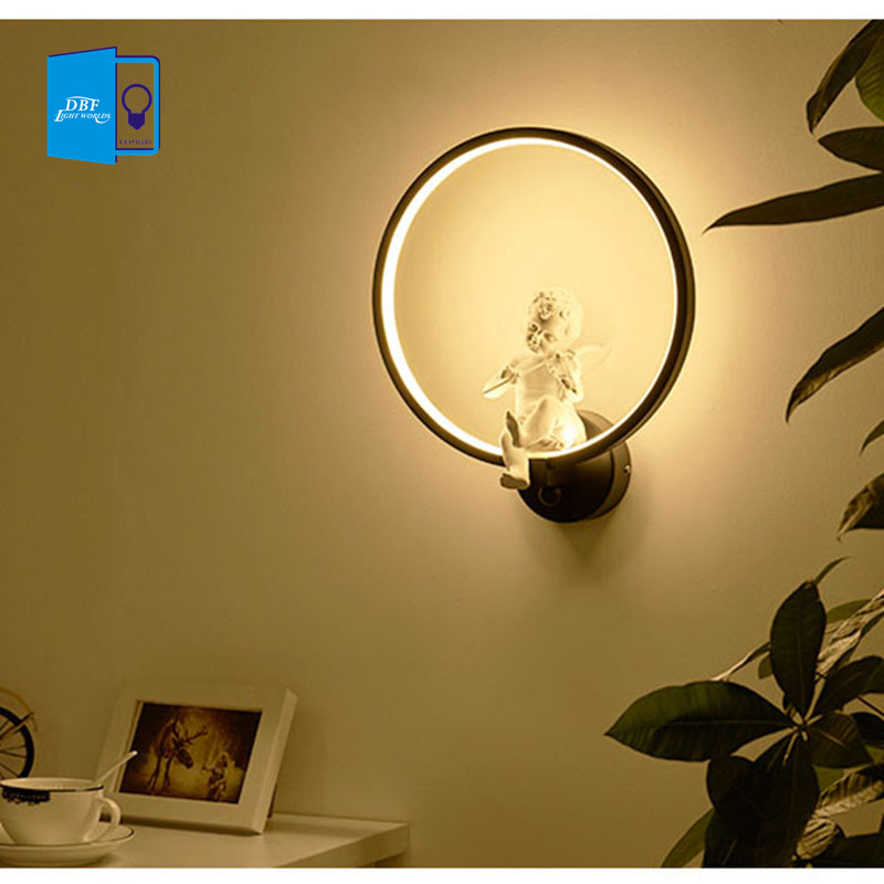 [DBF]Modern Angel LED Wall Light Lamps Ac90-260v Nordic Creative Living Room Bedroom Wall Lighting indoor novelty lights fixture 18w led outdoor waterproof wall light ip65 modern nordic style indoor wall lamps living room porch garden lamp ac90 260v lp 42