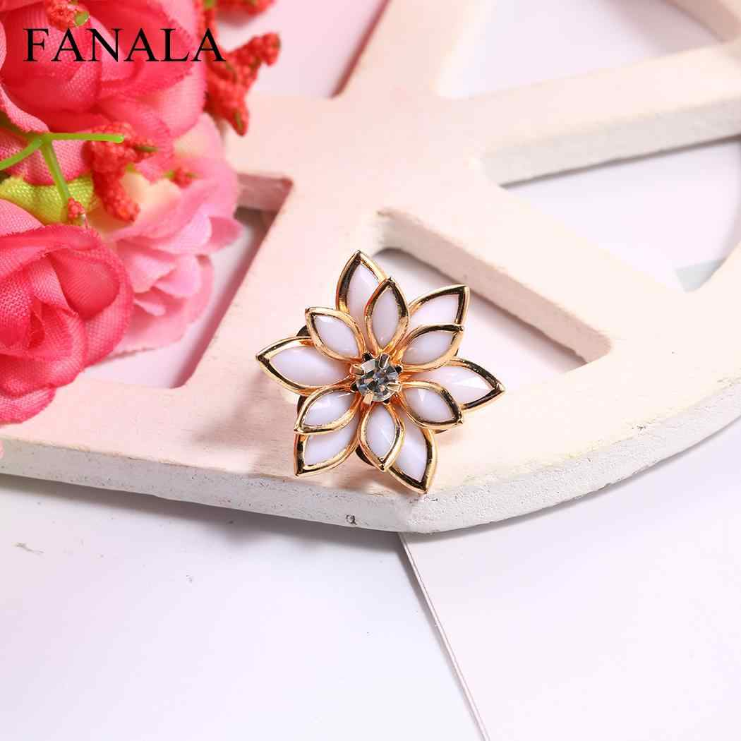 Finger Lotus Cubic Rings Romantic Water Lily Flower Snow  Women Adjustable Ring