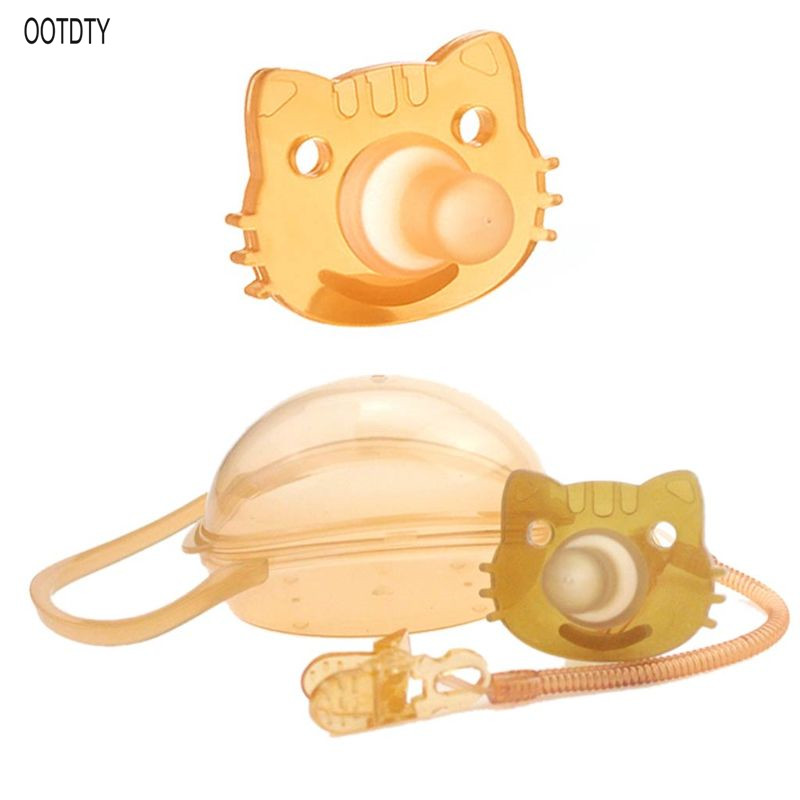 Baby Kids Boy Girl Silicone Cat Dummy Pacifier Soother Nipple Toy Strap Chain Clip Storage Box Holder Newborn Gifts