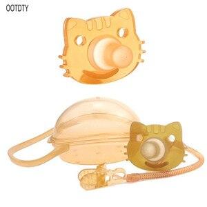 Bebê crianças menino menina silicone gato manequim chupeta chupeta mamilo brinquedo cinta clipe de corrente caixa de armazenamento titular presentes recém-nascidos