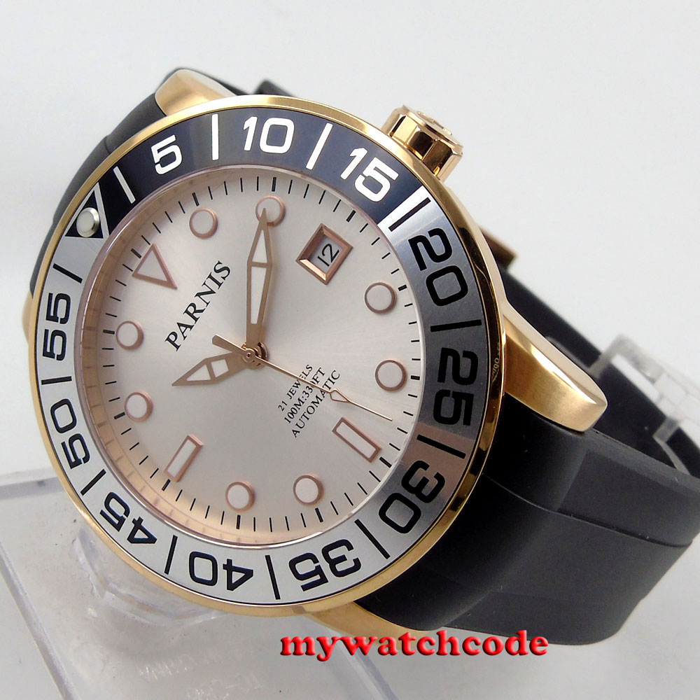 42mm Parnis silver dial Sapphire glass 21 jewels Miyota automatic mens watch 601 цена и фото