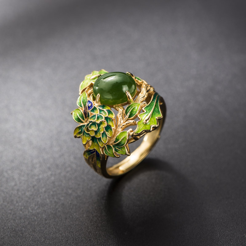 Jasper Ring Retro Thai Style S925 Sterling Silver Jewelry Baked Blue Craft Green Leaf Open Ended