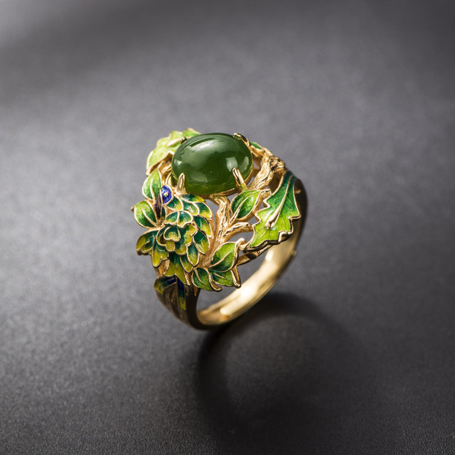 Jasper Ring Retro Thai Style S925 Sterling Silver Jewelry Baked Blue Craft Green Leaf Open Ended Ring Female