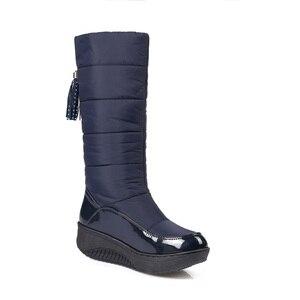 Image 5 - MORAZORA Plus rozmiar 35 44 rosja ciepłe buty na śnieg patent pu skórzana platforma do połowy łydki buty damskie obuwie zimowe buty niebieski czarny