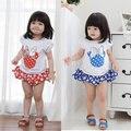 2015 bebés del verano minnie puff sleeve + polk dot shorts / faldas 2 unids/set ropa de las muchachas fija la ropa del bebé
