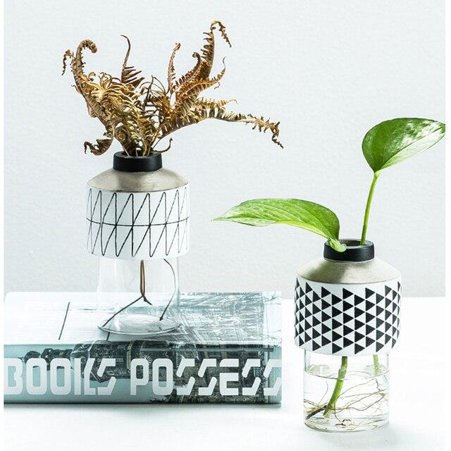 Modern Style Geometric Design Cement Glass Vase