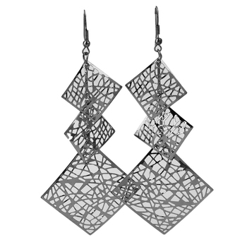 Metal Hook Earrings For Women Party Accessories Fashion Hollow Square Pendant Dangle Earrings