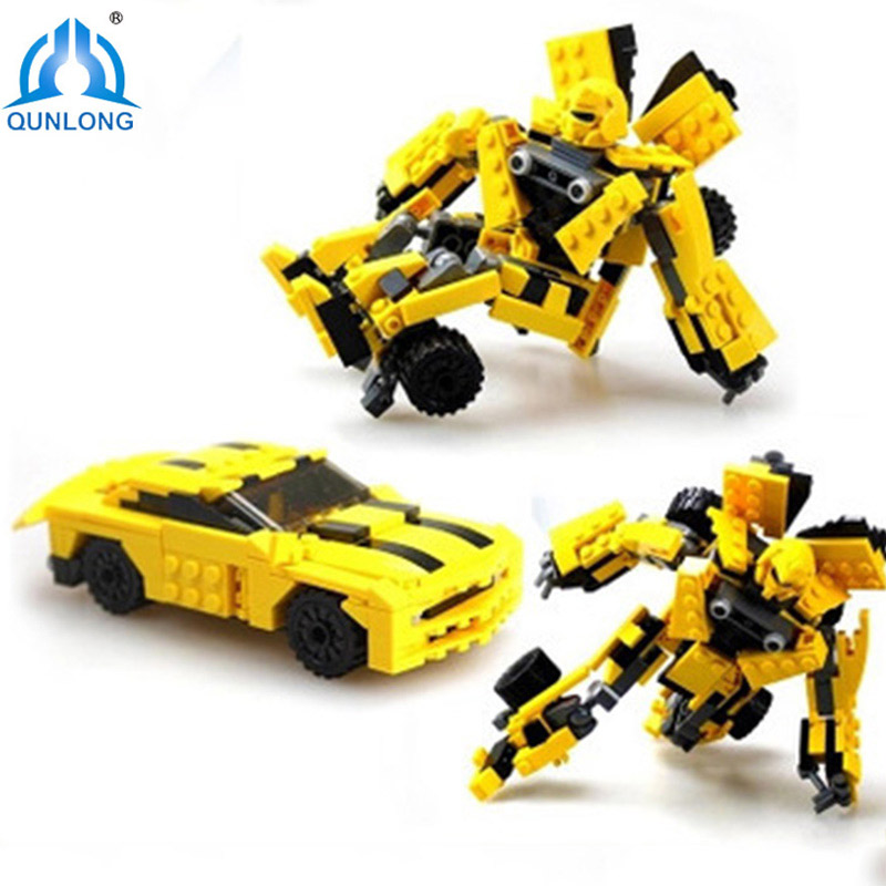 Qunlong 2 In 1 Transform Series Bumblebee Building Blocks Model Toys Robot Vehicle Sports Car Toys For Kids Compatiblle Legoe