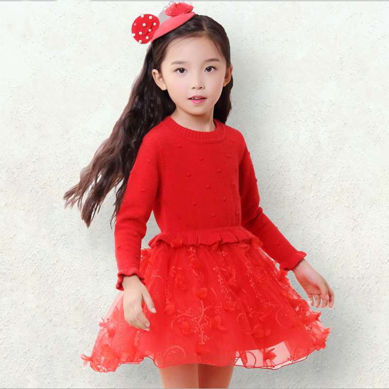Fashion spring Autumn 2017 Girl Dresses Princess Party Kids Sweater Dress baby Girl Clothes Children Cotton Clothing 4 5 7 9 11Y fashion jacquard spring and autumn long sleeved lace print dress princess party baby girl dresses girl clothes 3 7 yrs