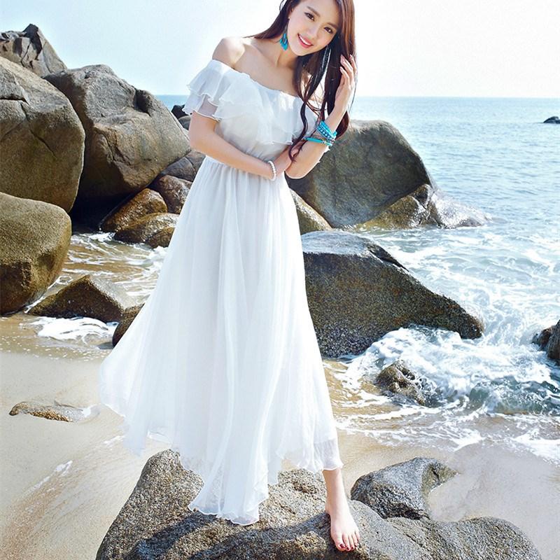 2019 Summer Strapless Slash Neck Long Dress Women Off The Shoulder Chiffon Beach Dresses Bohemian Cascading Ruffle Maxi Dress in Dresses from Women 39 s Clothing