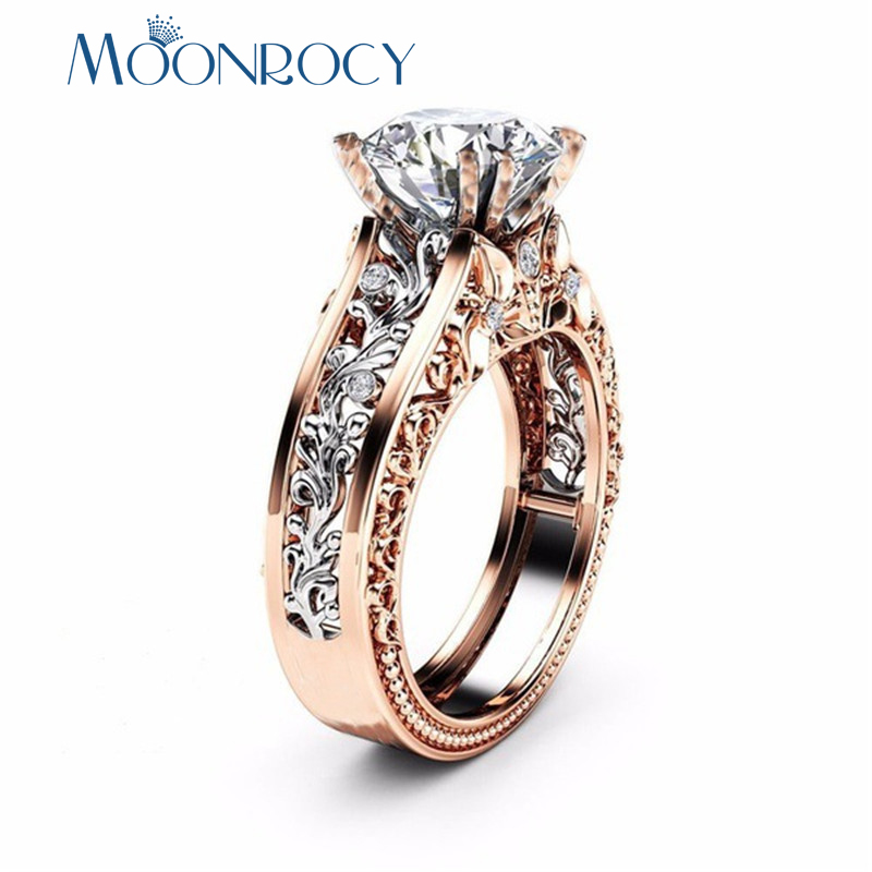 MOONROCY Silver Color Vintage Red Blue Crystal Rings Flower Cubic Zirconia Ring for Women Gift Drop Shipping Jewelry Wholesale