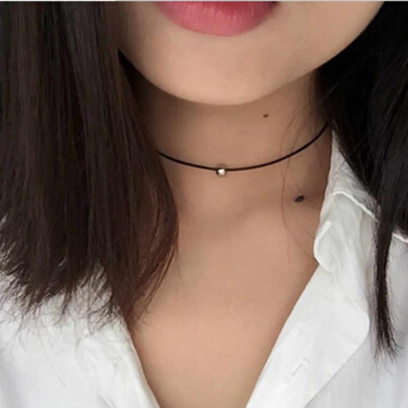 חדש פופולרי נשים של תכשיטים פשוט טהור שחור עור העברת חרוזים שרשרת אביזרי סיני תכשיטים