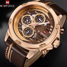 Relogio Masculino NAVIFORCE montre bracelet en cuir pour hommes, marque de luxe, or Sport, étanche, style militaire, Quartz, 9110