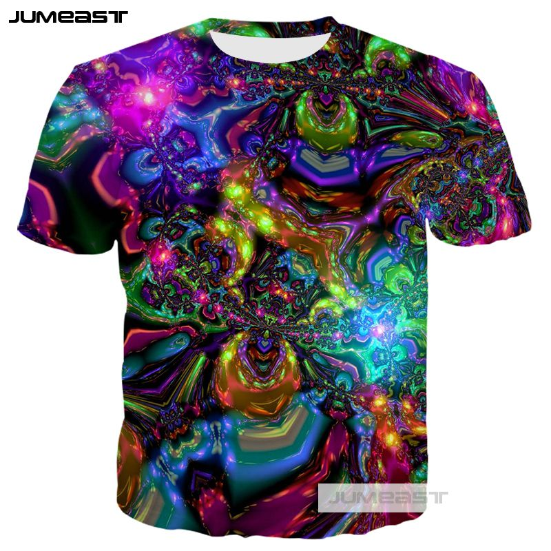 Jumeast New Fashion 3D Printed Colorful Totems Men/women T-Shirts Psychedelic Abstract Summer O-neck Short Sleeves Line Robot