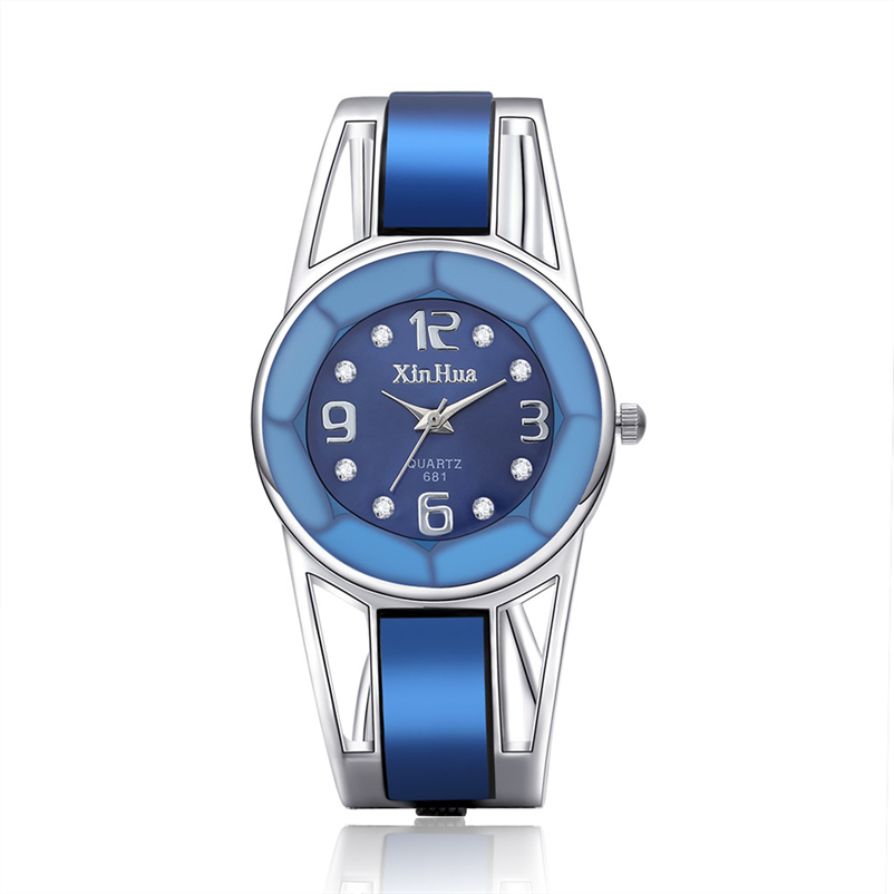 2018 Hot Sell Xinhua Bracelet Watch Women Blue Luxury Brand Stainless Steel Dial Quartz Wristwatches Ladies Fashion Watches xinhua 681 bracelet style quartz watch with rhinestone dial stainless steel band for women