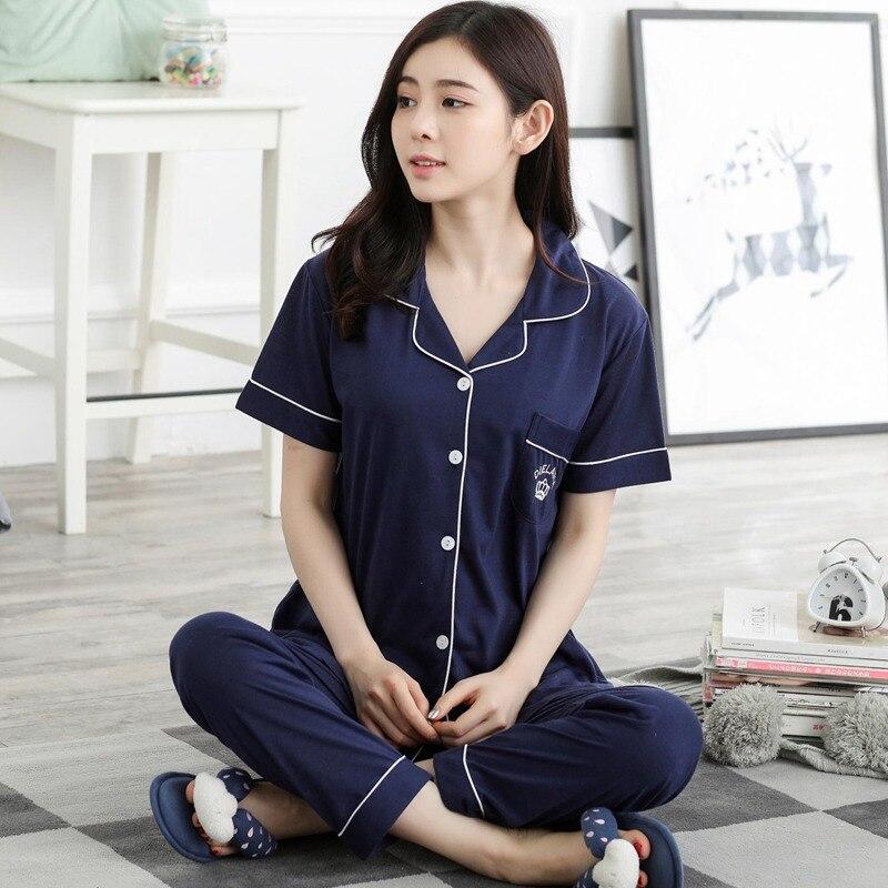 2018 Summer Cotton   Pajama     Sets   for Women Short Sleeve Sleepwear Pyjama Femme Long Pants Loungewear Homewear Pijama Mujer Clothes
