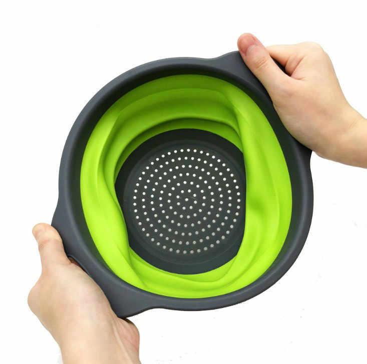 1 pz Nuovo Pieghevole Scolapasta In Silicone Frutta Verdura Lavaggio Cestello Pieghevole Scolapiatti Con Manico Da Cucina Imbuto Strumento