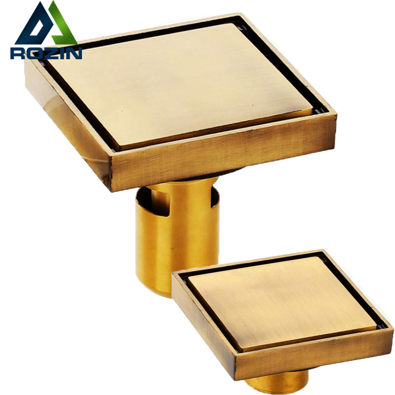 Best Quality Brass Antique Bathroom Floor Drain Square 4 Tile Insert Floor Waste Grates Drain Invisible Shower Floor Drain цена