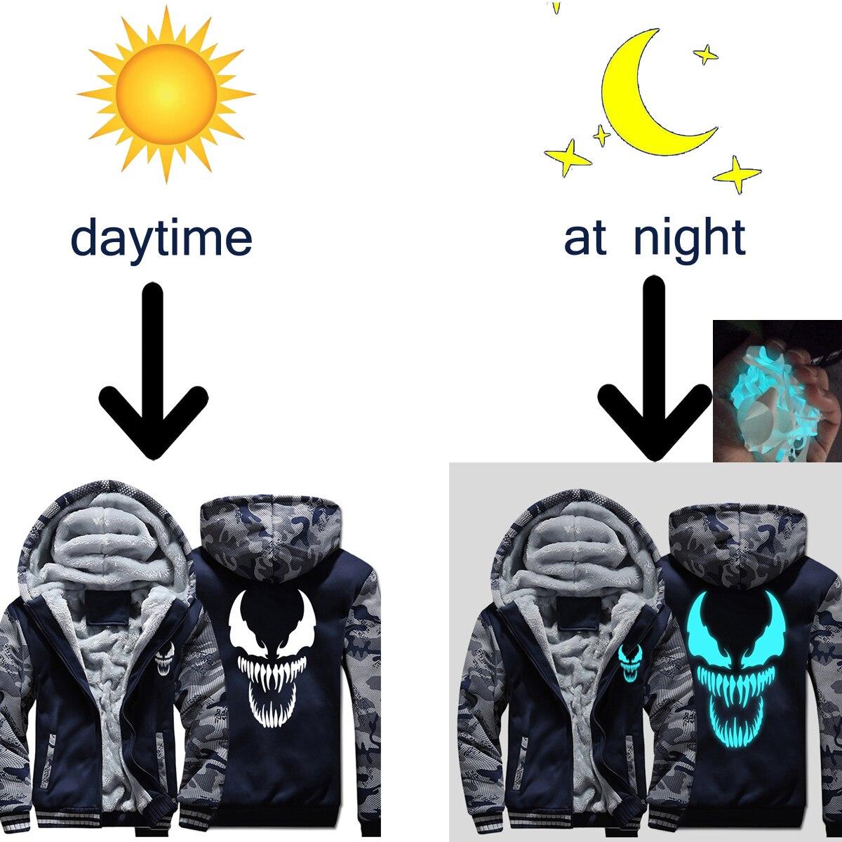 Image 2 - Venom Hoodies Men Movie Night Glow Hooded Sweatshirts Harajuku Coat Winter Thick Fleece Jacket Cool Noctilucent Streetwear-in Jackets from Men's Clothing