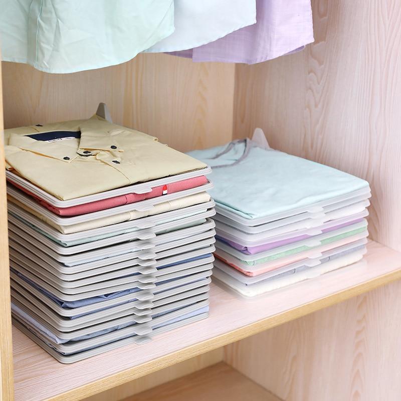 5PC Wardrobe Storage Folding Board Creative Household Clothes Artifact T-shirt Storage Finishing Frame Anti-wrinkle