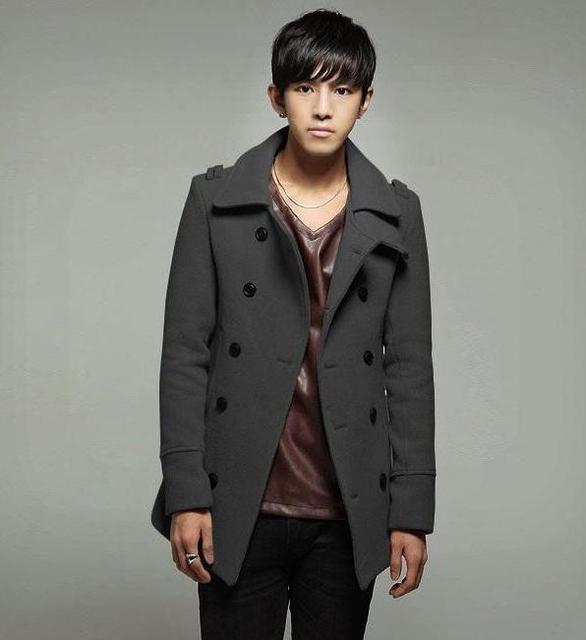 Negro gris caqui delgado abrigo de lana hombres invierno sobretodo de la chaqueta para hombre de la cachemira chaquetón abrigo de ropa urbana moderna más el tamaño S - 9XL