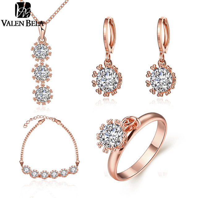 VALEN BELA Clássico AAA CZ Rose Banhado Conjuntos de Jóias Para As Mulheres colares, Brincos, Anéis, Pulseira parure bijoux femme XL1217