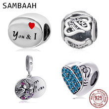 Sambaah Me and You Heart Charm 925 Sterling Silver Always by Your Side Beads fit Original Pandora Valentine's Day Bracelet