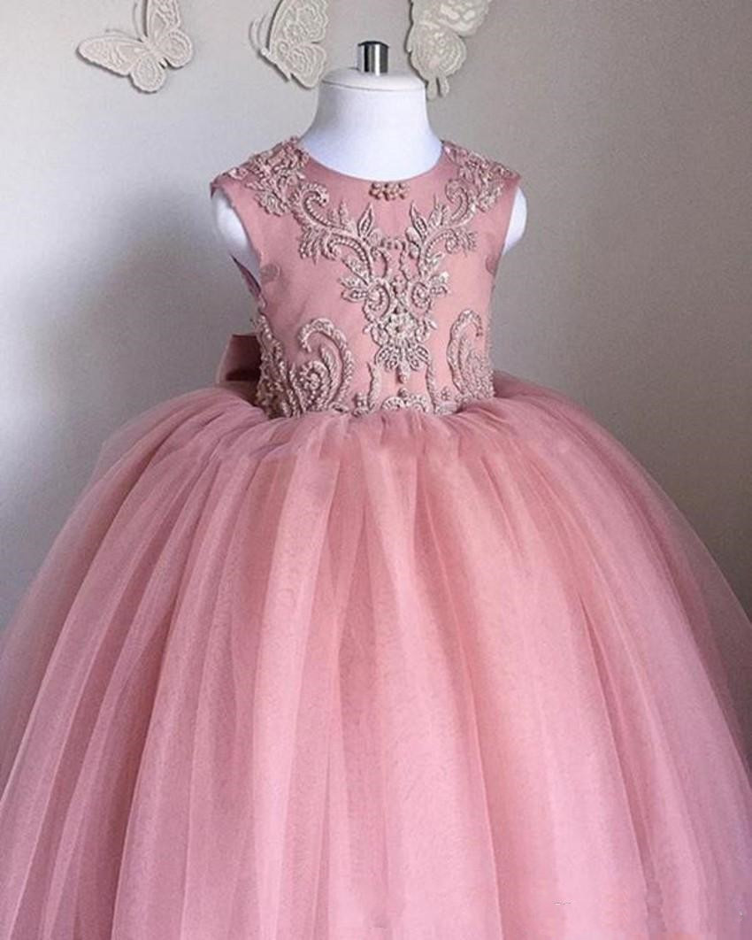 Blush Pink New 2019   Flower     Girl     Dresses   for Weddings Party Ball Gown Tulle Appliques Holy First Communion   Dresses   with Big Bow