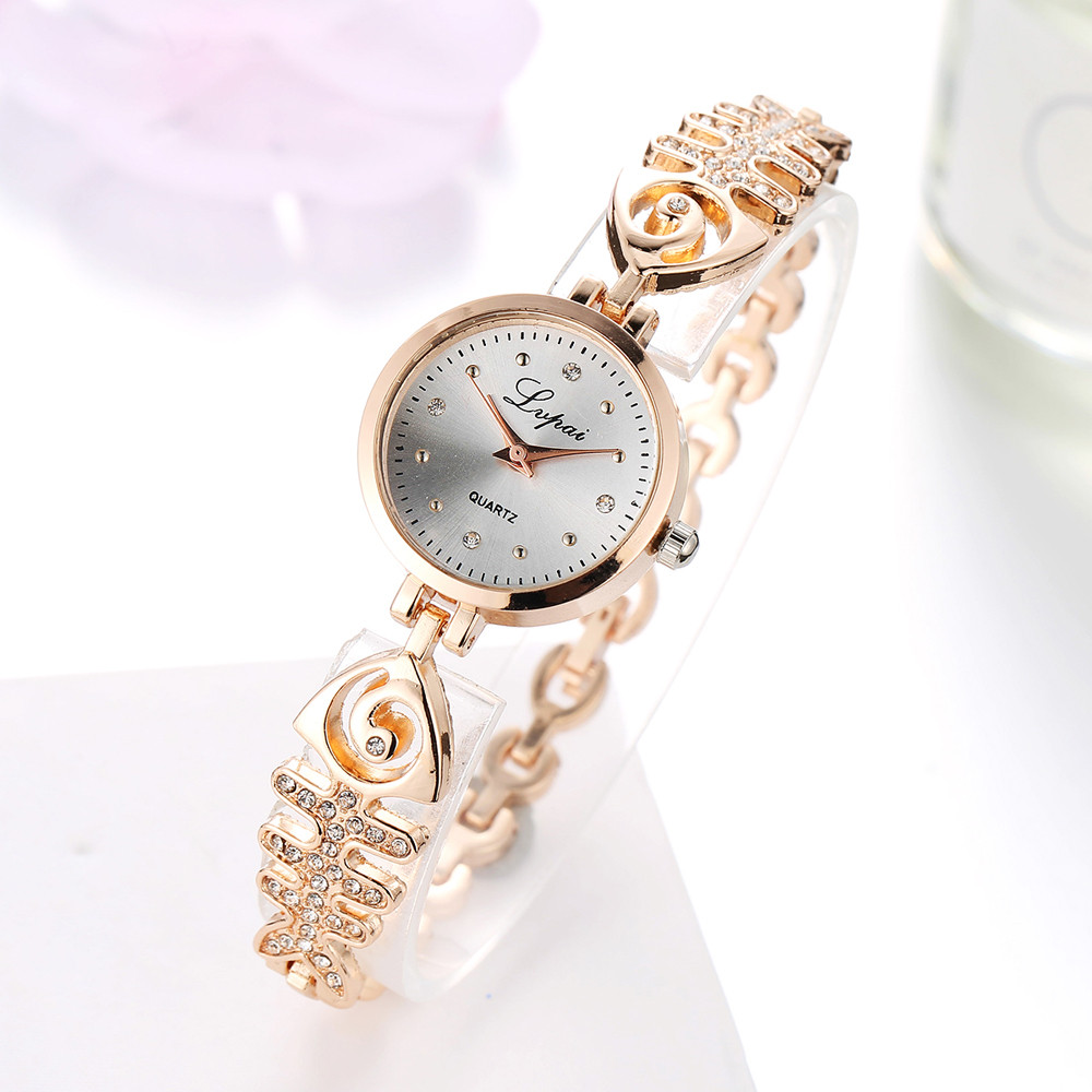 LVPAI Fashion Fish Bone Chain Rhinestone  Watches Women Luxury Stainless Steel Bracelet Watche Ladies Quartz Dress Watch Clock#A