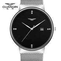 GUANQIN Watch Men Luxury Brand Business Casual Full Steel Watch Quartz Watch Men Fashion Waterproof Wristwatch