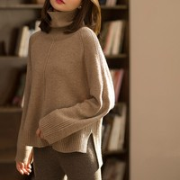 Women Sweater Sale Full Poncho 2017 Winter New Woman Cashmere Sweater High Collar Pure Lazy Thickening Loose Large Size Knitted