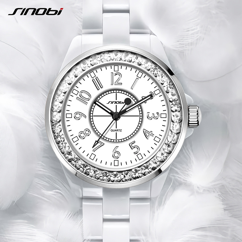 Fashion SINOBI  Brand Relogio Feminino Dress Clock Female Ceramic White Watch Women Crystal Casual Wirstwatch Girl Shining Watch