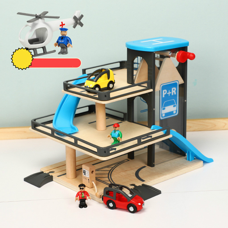 Car Track Lifts Wooden Track Parking Compatible with Thomas and Brio Wooden Train Track Children s