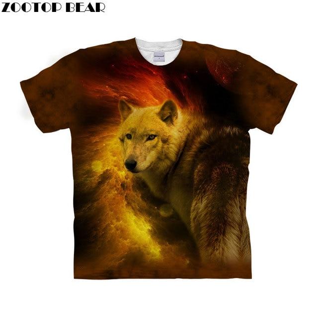9b66db733cd3 Fire Wolf t shirt 3d t-shirt Men tshirt Fashion Clothes Animal Prints Top  Anime