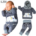 LZH New Spring Autumn 2017 Baby Boys Girls Clothes Striped Hoodie + Pants Outfit Suit Baby Infant Clothing Newborn Clothes Sets