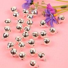 Pendentifs cloches de Jingle argentées 14mm de diamètre, 20 pièces, ornements d'arbre de noël suspendus, décorations de fête, accessoires artisanaux DIY