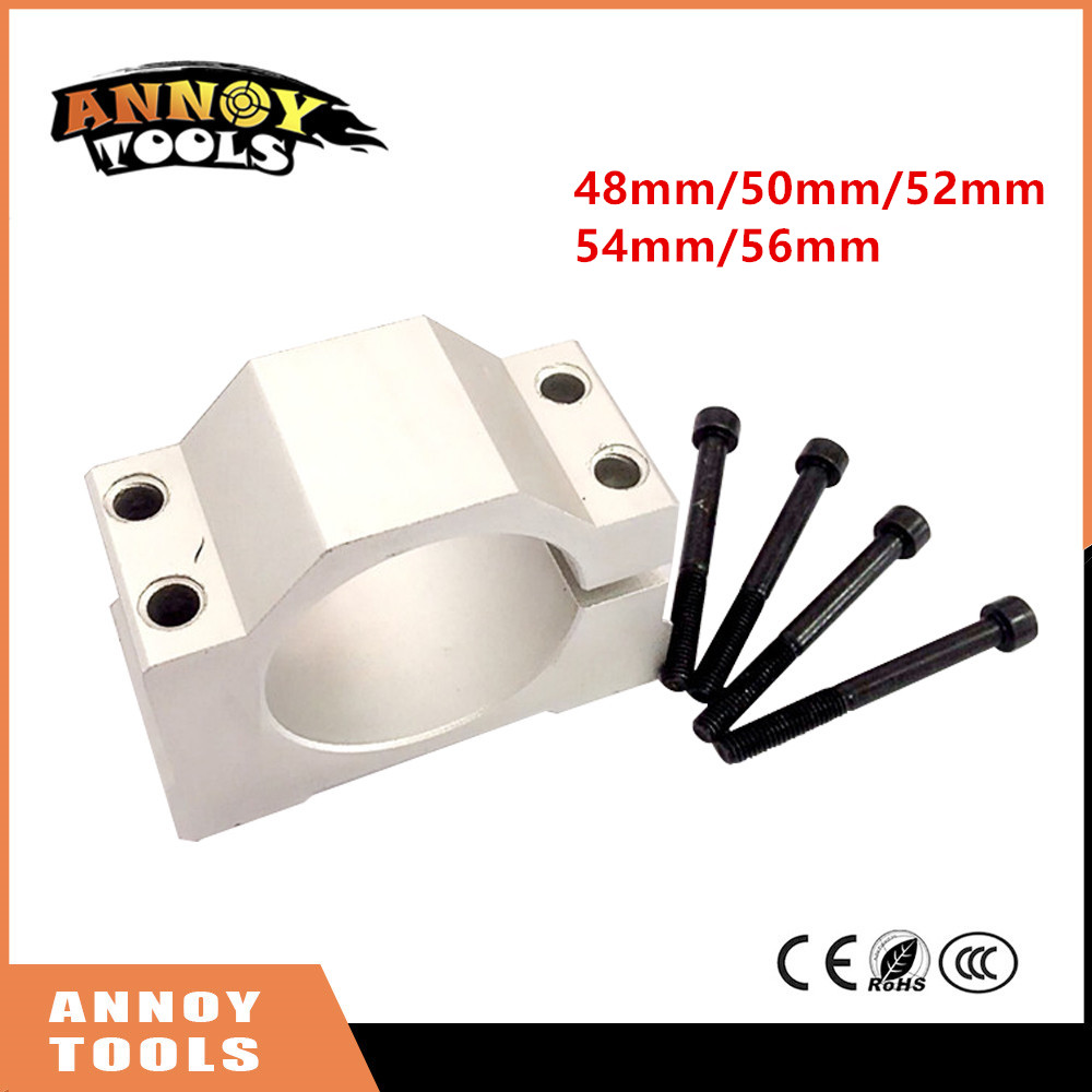 ANNOYTOOLS New 1PC 52mm 48mm Spindle Motor Fixture Mount Bracket Holder For ER11 300W 400W 500W DC spindle motor PCB CNC machine dia 48mm spindle motor clamp mount bracket with screws special for 300w electric motor