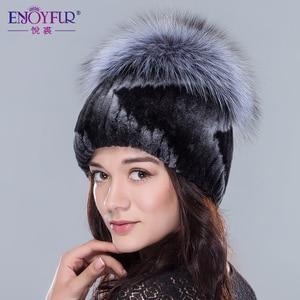 Image 4 - ENJOYFUR Mulheres chapéus de pele de inverno genuína pele de coelho rex gorro de pele de raposa de prata de alta qualidade de malha gorros de pele