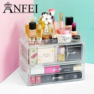 Anfei caixa organizadora de acrílico, caixa transparente e durável para maquiagem, de acrílico, com suporte para inserção e armazenamento c227