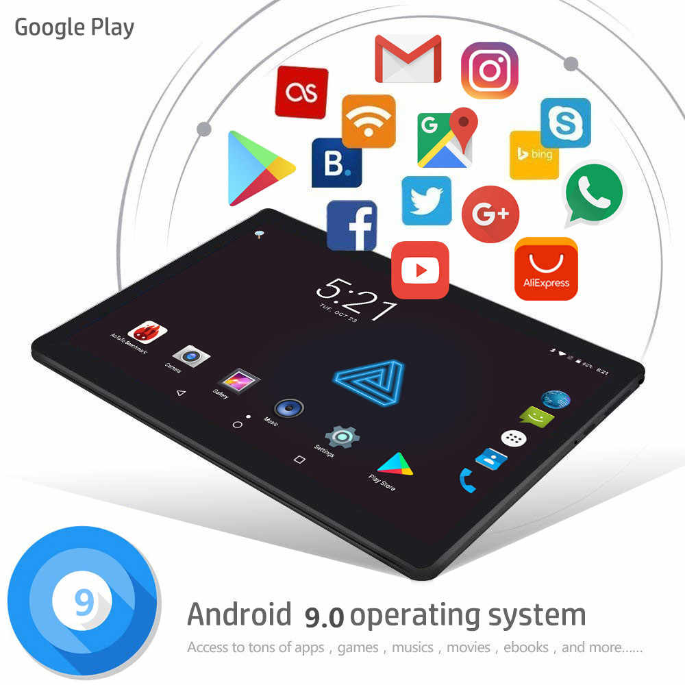 2019 MT6753 10.1 'את Tablet אנדרואיד 9.0 8 Core 6 GB + 64 GB ROM כפולה מצלמה 5MP ה-SIM tablet PC Wifi מרק Usb GPS bluetooth טלפון